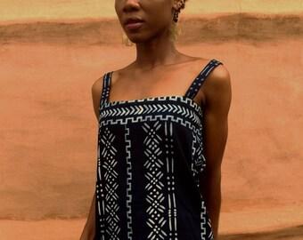 Indigo top, bogolan top, handprinted indigo and white top, african tops, indigo fabric