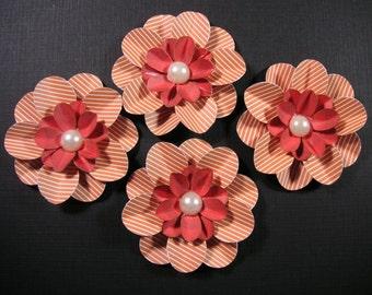 4 Scrapbook Flowers, Scrapbook embellishment, Cards, Decorating, Weddings,Banners