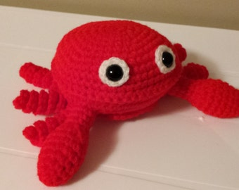 Crab- Crochet Amigurumi Stuffed Animal Plush- Red