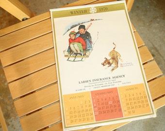 1970s  Vintage Advertising Calendar, Norman Rockwell, Four Seasons Pin Up Calendars, 1970, UNUSED