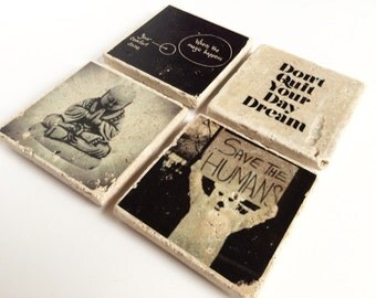 Group of 4 Kickass Coasters, The Funky Buddha Collection, Handmade with Tumbled Tile