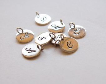 CLOSING CLEARANCE 1 pc Sterling Silver Cursive Letter Disk Initial Charms Pendants