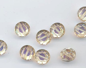 8 awesome and very rare vintage Swarovski crystal beads -- Art. 5100 - ceylon topaz AB - 12 mm