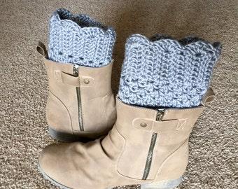 Boot cuffs, crochet boot cuffs, gray boot cuffs, fancy boot cuffs, dressy boot cuffs