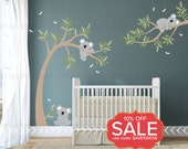 Koala Wall Decal | Koala Bears in Tree with Dragonflies | Custom Baby Nursery and Children's Room Interior Design |  Easy Application 058