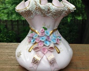 Lefton Pink and Gold Vase