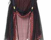 Double Layer Garter Skirt - Black & Red Stripe