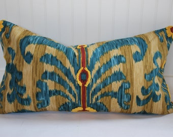 Java Moon Embroidered Ikat Pillow Covers in Teal, Gold, Yellow and Red