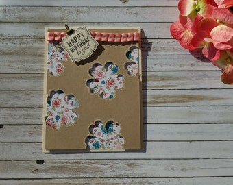 Handmade Greeting Card - Cute Punch Out Flower Birthday