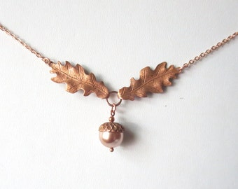 Oak Leaf and Acorn Copper and Rose Gold Necklace