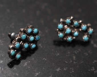 OLD Pawn Silver and  Turquoise Petit-Point Stud Earrings 69