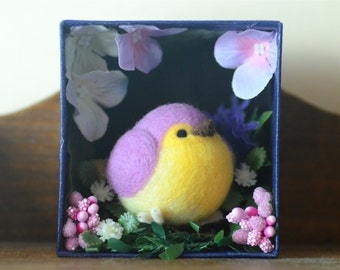 Purple bird in miniature garden diorama, needle felt bird in flowers shadow box, handmade bird figurine, needle felted animal, gift under 30