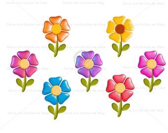 Cute flowers 3 d Clipart, digital graphics instant download, cute kids decor, colorful, bright pink / blue / purple / yellow / orange