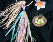 Handmade Ostara 3 pc Altar Set With Goddess  Hare, Nest, Eggs & Daffodil. Original Positively Pagan Design.