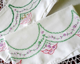 Vintage Pillowcases, Hand Embroidered Bedding, Red Pink Purple Green, Lightweight Cotton Blend, Vintage Linens by TheSweetBasilShoppe