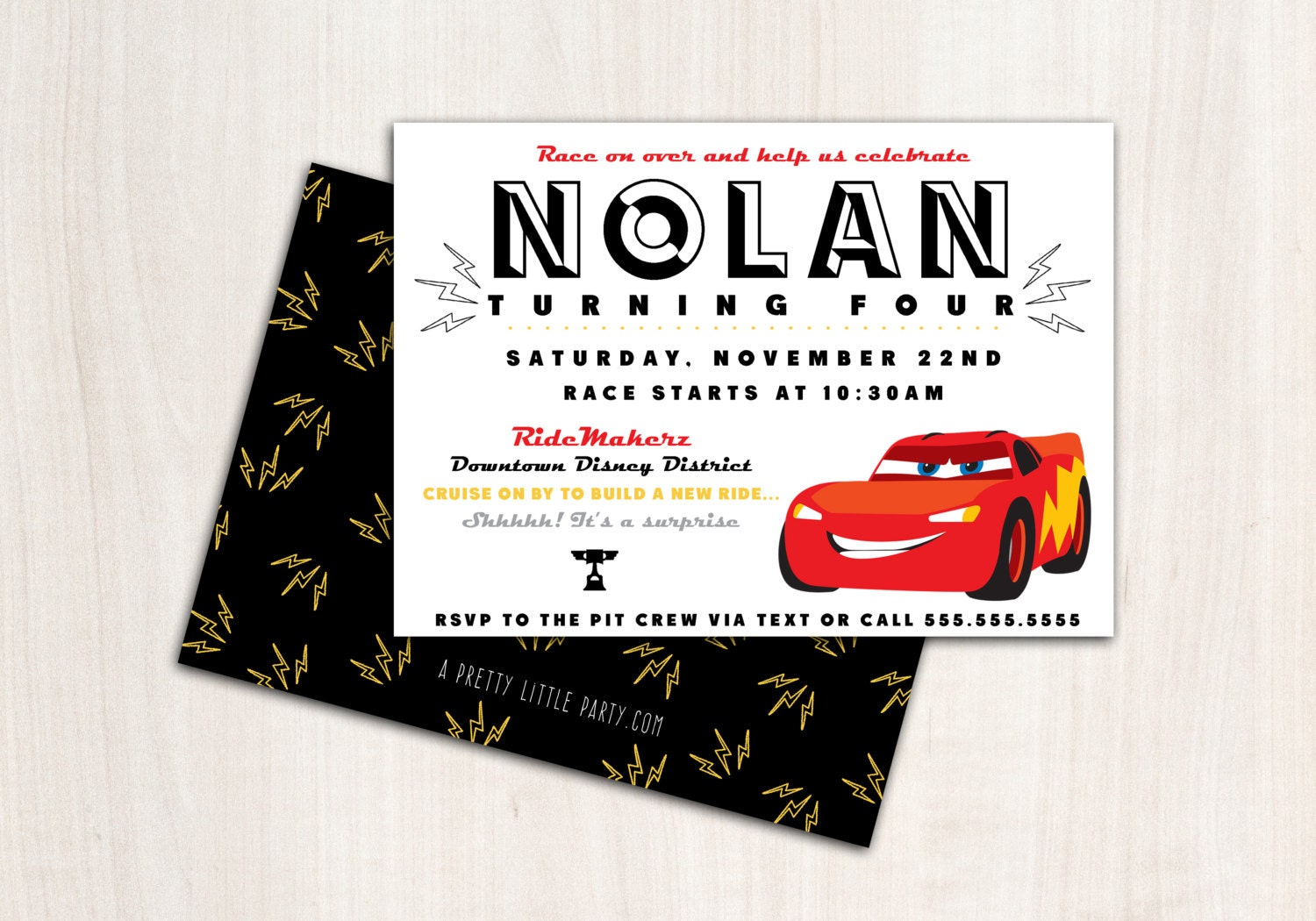 Lightning Car Party Invitation - Race Cars Party  - Printable Party Supplies