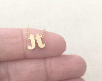 Two Initial Letter Necklace, Two Gold Initial Necklace, Lowercase Letter Necklace, Initial Charm Necklace, Christmas Gift, Couple Necklace,