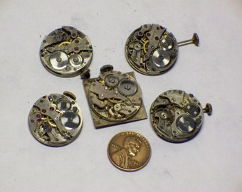 5 vintage watch movement 5 tick parts repair steampunk E-305