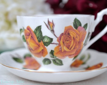 Vintage Queen Anne Floral Teacup and Saucer Anniversary Rose, English Bone China Tea Cup Set, Replacement China, ca 1940-1960