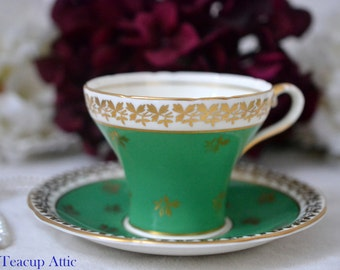 ON SALE Aynsley Emerald Green Corset Teacup and Saucer With Gold Leaf Decoration, English Bone China Tea cup Set, Tea Party, ca. 1934-1939