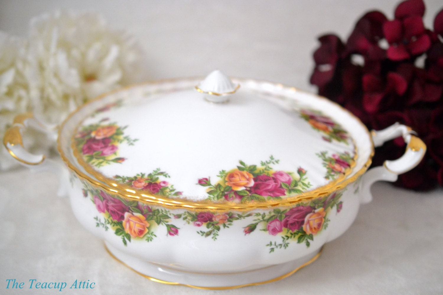 ON SALE Royal Albert Old Country Roses Covered Vegetable Bowl, English Bone China Dinnerware, Replacement China, ca 1960-1970