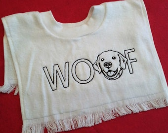 Embroidered Baby Toddler Terry Towel Pull Over Bib -Dog Lover - WOOF