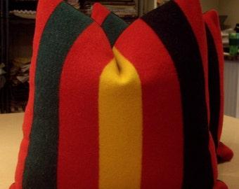 "Red ""RAINIER NATIONAL PARK"" Wool Camp Blanket Custom Pillows Pair - Ralph Lauren Wool Cashmere Back - 20"" Square"