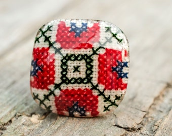 Embroidered ring resin, real handmade traditional folklore stitching, big ring, gentle piece of art,  modern design jewelry, detail work
