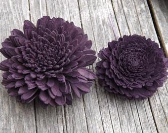 "6 Stemmed Sola Flowers Dahlias Eggplant Dark Purple Set of 6 Stemmed Sola Flowers 2""-3 1/4"""