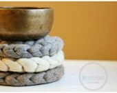 Trivet. Table Decoration. Natural. Grey. Marl. Centre Piece. Pure Wool. Modern Decor.