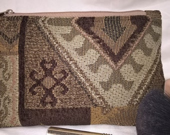 Earth Friendly~Green~Environmentally Friendly~Recycled~Native American~Cosmetic Bag~Chenille~Silk Lined~Indian~Aztec~Dark Chocolate