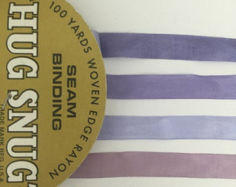 8 yards of shades of pale purples hug snug  rayon seam binding /crinkle ribbon  2 yards of each color