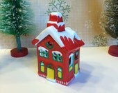 Vintage Hand Painted Ceramic Candleholder Little Christmas House Candle Holder