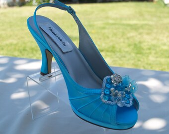 Ready to Ship Size 9 Turquoise Wedding Medium Comfortable Satin Heels,hand embellished organza flowers & beads,Slingback, Open Peep Toe