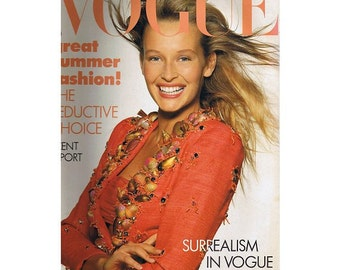 Vogue Magazine - UK May 1988 Vintage edition with cover photograph by Patrick Demarchelier