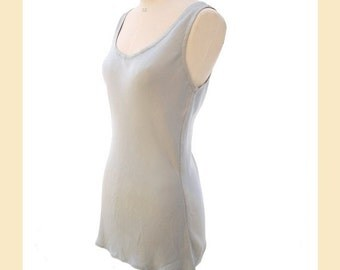 Vintage 1990s top by 'Ghost' in pale blue satin crepe, bias cut, sleeveless style with round neckline, UK size M