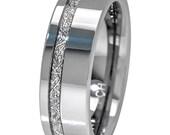 Meteorite Ring 8mm Comfort Fit Mens Tungsten Wedding Band Thin Strip High Polish