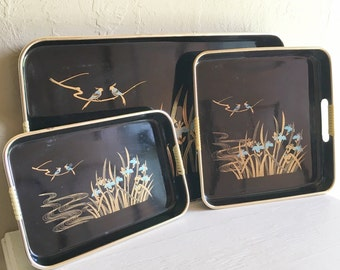 Set of 3 Vintage Trays Black and Gold Rattan Handles - Great condition Complete