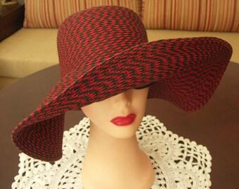 Gorgeous vintage red and black wide brim straw floppy hat