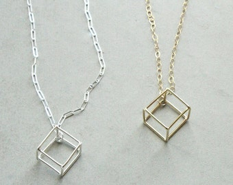 Solitary cube necklace, handmade geometric 3D necklace, tiny cube, minimal necklace, modern geometric jewelry