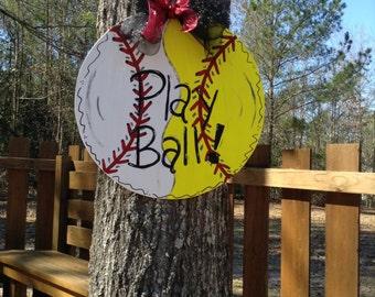 Baseball/Softball combination door hanger/ Play Ball door hanger/baseball/softball