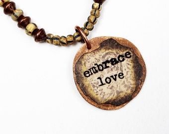 Love Mixed Media Necklace, Pendant Necklace, Mixed Media Jewelry, Recycled, Short Brown Bead Necklace, Seed Bead, Inspirational
