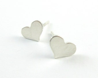 Sterling Silver Heart Stud Earrings, Cartilage Studs, Silver Post Earrings, Silver Studs, Tiny Earrings, Petite Studs, Vancouver Canada