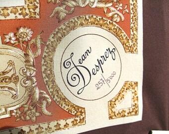 Jean Desprez Bal a Versailles Scarf is Very Fine Hand Rolled Silk Perfume Promo Italy 37 Inch Beast Cherubs Goth Art Nouveau French Perfume