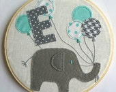 Hand Embroidered Hoop Art - Wall Hanging Hoop Art - baby elephant Hoop Art -mint green gray balloons