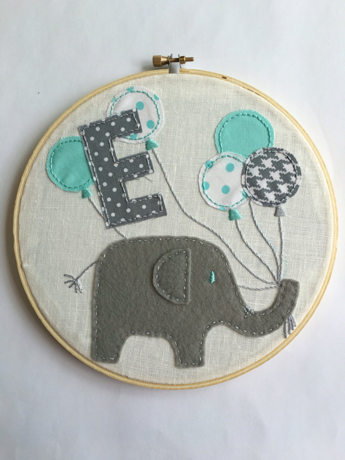 Hand embroidered hoop art wall hanging baby
