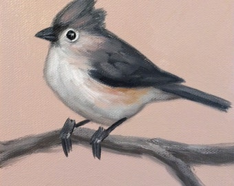 Original Oil Painting Tufted Titmouse