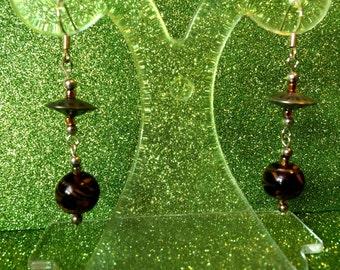 Brown Fashion Trend Earrings feather patterned goldstone glass bead by JulieDeeleyJewellery on Etsy Ladies Jewellery