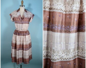 Vintage 70s Floral Striped Day Dress/ Cream Taupe  Short Sleeve Shirtwaist Dress/Hipster Flea Market Preppy Secretary Travel Dress SZ S