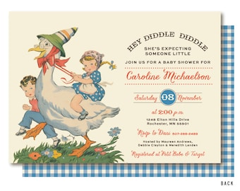 mother goose baby shower nursery rhyme baby shower invitation storybook gender neutral shower invitations